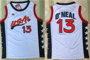 Team USA #13 Shaquille O'Neal White 1996 Dream Team Stitched Basketball Jersey