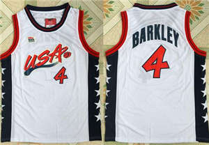 Team USA #4 Charles Barkley White 1996 Dream Team Stitched Basketball Jersey