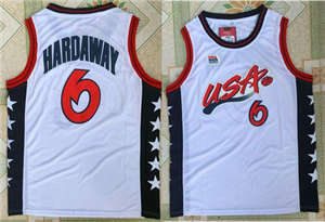 Team USA #6 Penny Hardaway White 1996 Dream Team Stitched Basketball Jersey