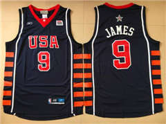 Team USA #9 LeBron James Navy Blue 2004 Dream Team Stitched Basketball Jersey