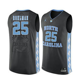 North Carolina Tar Heels #25 Aaron Rohlman Black College Basketball Jersey