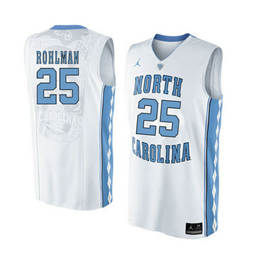 North Carolina Tar Heels #25 Aaron Rohlman White College Basketball Jersey