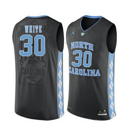 North Carolina Tar Heels #30 Stilman White Black College Basketball Jersey