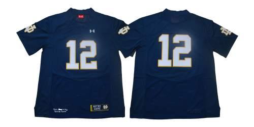 Notre Dame Fighting Irish #12 Blue Under Armour NCAA College Football Jersey