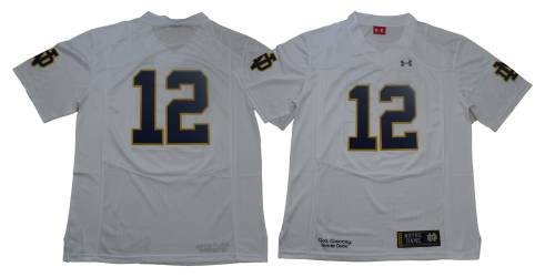 Notre Dame Fighting Irish #12 White Under Armour NCAA College Football Jersey