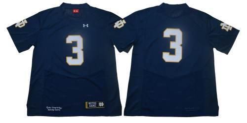 Notre Dame Fighting Irish #3 Blue Under Armour NCAA College Football Jersey