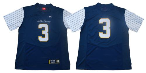 Notre Dame Fighting Irish #3 Blue Under Armour NCAA College Football Throwback Jersey