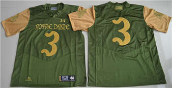 Notre Dame Fighting Irish #3 Green College Football Jersey