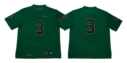 Notre Dame Fighting Irish #3 Green Under Armour NCAA College Football Jersey