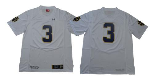 Notre Dame Fighting Irish #3 White Under Armour NCAA College Football Jersey
