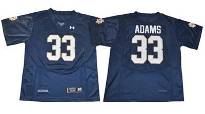 Notre Dame Fighting Irish #33 Josh Adams Navy Blue Under Armour Stitched NCAA Jersey