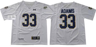 Notre Dame Fighting Irish #33 Josh Adams White Under Armour Stitched NCAA Jersey