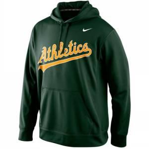 Oakland Athletics  Men's KO Wordmark Performance Green Baseball Hoodie