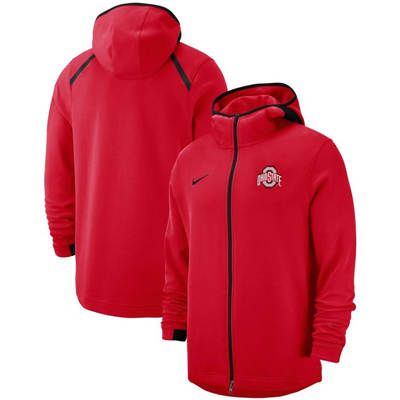 Ohio State Buckeyes 2018-2019 On-Court Basketball Player Showtime Performance Full-Zip Hoodie – Scarlet