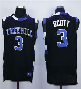 One Tree Hill Ravens #3 Lucas Scott Black Stitched Basketball Jersey