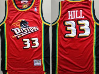 Pistons #33 Grant Hill Red Hardwood Classics Jersey