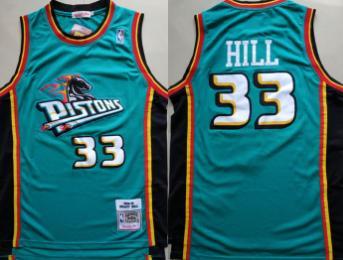Pistons #33 Grant Hill Teal 1998-99 Hardwood Classics Jersey