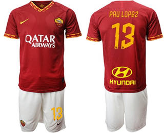 Roma #13 Pau Lopez Red Home Soccer Club Jersey