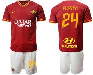 Roma #24 Florenzi Red Home Soccer Club Jersey