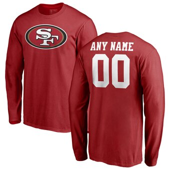San Francisco 49ers Pro Line Any Name & Number Logo Personalized Long Sleeve T-Shirt - Red