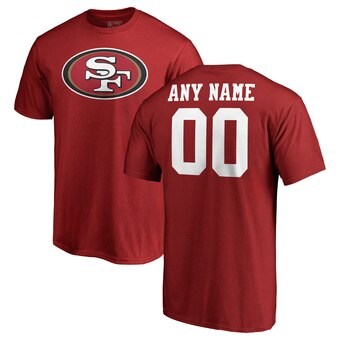 San Francisco 49ers Pro Line Any Name & Number Logo Personalized T-Shirt - Red