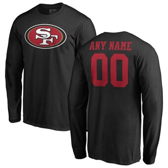 San Francisco 49ers Pro Line Personalized Name & Number Logo Long Sleeve T-Shirt - Black