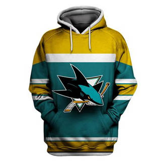 San Jose Sharks Green All Stitched Hooded Sweatshirt
