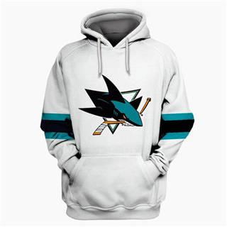 San Jose Sharks White All Stitched Hooded Sweatshirt