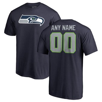 Seattle Seahawks Pro Line Any Name & Number Logo Personalized T-Shirt - Navy