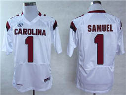 South Carolina Fighting Gamecocks #1 Deebo Samuel White SEC Patch Stitched NCAA Jersey
