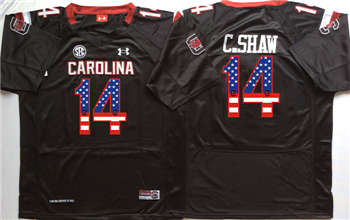 South Carolina Gamecocks #14 C Shaw Black USA Flag College Jersey