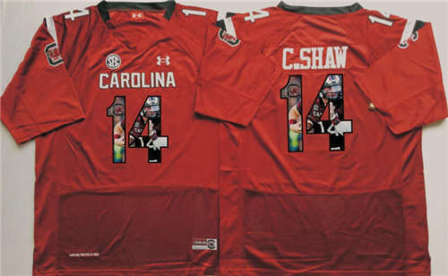 South Carolina Gamecocks #14 C Shaw Red Portrait Number NCAA College Football Jersey