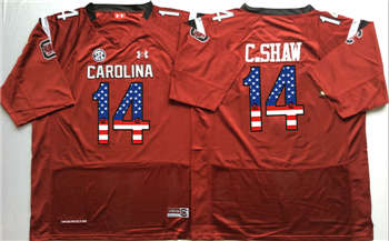 South Carolina Gamecocks #14 C Shaw Red USA Flag College Jersey