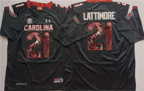 South Carolina Gamecocks #21 Marcus Lattimore Black Portrait Number NCAA College Football Jersey