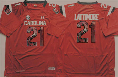 South Carolina Gamecocks #21 Marcus Lattimore Red Portrait Number NCAA College Football Jersey