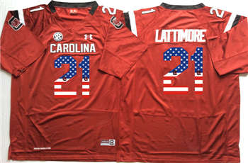 South Carolina Gamecocks #21 Marcus Lattimore Red USA Flag College Jersey
