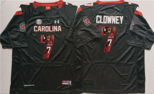 South Carolina Gamecocks #7 Jadeveon Clowney Black Portrait Number NCAA College Football Jersey