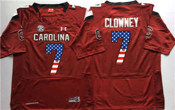 South Carolina Gamecocks #7 Jadeveon Clowney Red USA Flag College Jersey