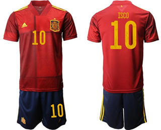 Spain #10 Isco Home Soccer Country Jersey