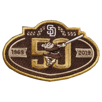 Stitched San Diego Padres 50th Anniversary Brown Patch