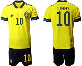 Sweden #10 Forsberg Home Soccer Country Jersey