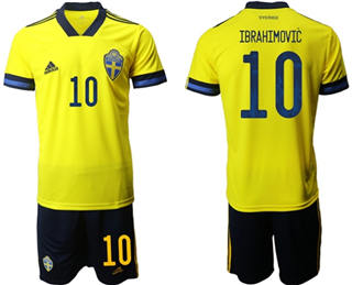 Sweden #10 Ibrahimovic Home Soccer Country Jersey
