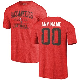 Tampa Bay Buccaneers Distressed Personalized Tri-Blend T-Shirt - Red