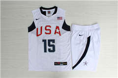 Team USA Basketball #15 Carmelo Anthony White  Stitched Jerseys Suit