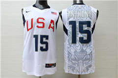 Team USA Basketball 15 Carmelo Anthony White  Stitched Jersey
