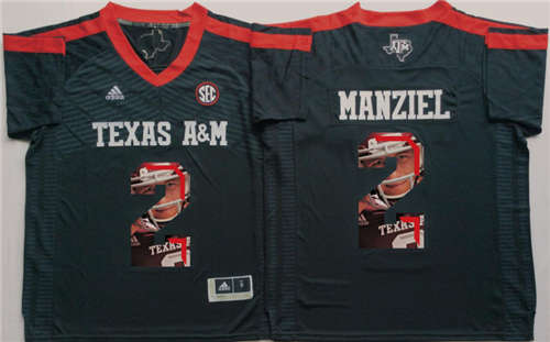 Texas A&M Aggies #2 Johnny Manziel Black Portrait Number NCAA College Football Jersey