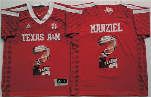 Texas A&M Aggies #2 Johnny Manziel Red Portrait Number NCAA College Football Jersey