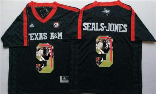 Texas A&M Aggies #9 Ricky Seals Jones Black Portrait Number NCAA College Football Jersey