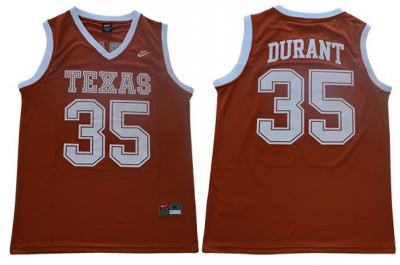 Texas Longhorns #35 Kevin Durant Orange Stitched College Basketball Jersey