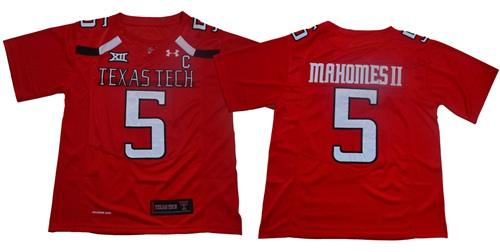 Texas Tech Red Raiders #5 Patrick Mahomes Red Limited Stitched College Football Jersey